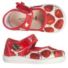 Monnalisa - Girls Red Strawberry Canvas Shoes | Childrensalon