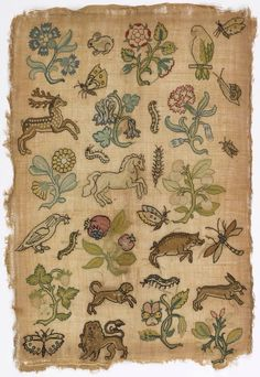 iehudit:  Sampler, silk embroidery on linen foundation, c. 17th century, England