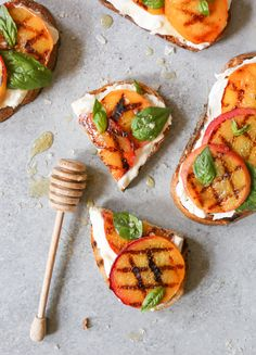 Grilled Peach Tartines with Burrata and Basil. The ultimate summer toast via www.domesticate-me.com