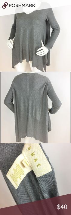 Shae gray silk/modal/cashmere waterfall sweater. Size x-small. 55% silk, 37% modal, 8% cashmere. Excellent condition. Super soft, v neckline, ribbed sleeves, draped waterfall cut. Anthropologie Sweaters
