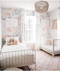 Baby And Toddler Shared Room, Toddler Rooms, Shared Room Girls, Shared Rooms, Girls Bedroom Wallpaper, Kids Bedroom, Girl Toddler Bedroom, Sister Bedroom, Rustic Girls Bedroom