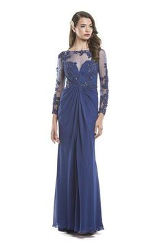 Sheath Shape and Full Length Mother of Bride Evening Dress has Sheer Mesh Bodice with Long Sleeve and Embroidery Embellishment Throughout, Illusion Neckline, Gathered Ruching Detail at the Waistline a
