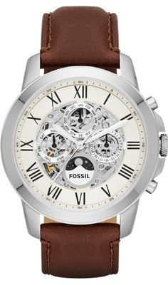 Fossil Watches, Men's Grant Automatic Leather Watch - Brown #ME3027