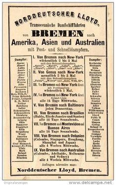 Original-Werbung/Inserat/ Anzeige 1893 : NORDDEUTSCHER LLOYD BREMEN -  ca. 155 x 95 mm