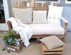 This pallet sofa is awesome. We love the funky look of this upcycled furniture piece. It's perfect for a summer deck! This pallet sofa was built around the dimensions of a reused futon mattress. Find a plush mattress and make yourself a pallet wood sofa. Diy Pallet Sofa, Pallet Furniture, Outdoor Furniture, Furniture Ideas, Painted Furniture, Diy Couch, Porch Furniture, Handmade Furniture, Backyard Furniture