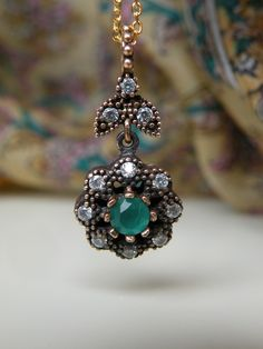 Emerald Floral Necklace | Sterling Silver Jewelry | Turkish Jewelry