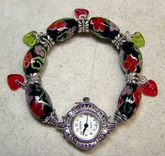 Red and Pink Flower Paper Weight Beads Watch by ColleensCreations, $30.00
