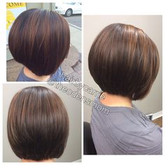 Layered bob. Chocolate brown base with caramel balayage highlights. Kenra Professional color. Hair by Carrie Murtaugh. Instagram: @theodensmom