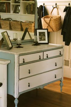 I could convert two bottom drawers into a hidden lat filing cabinet. Furniture Refinishing, Diy Furniture Projects, Furniture Redo, Upcycled Furniture, Shabby Chic Furniture, Furniture Making, Painted Furniture, Wood Projects, Pantry Cabinets