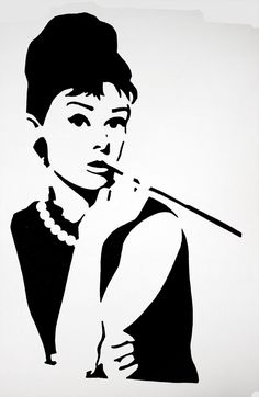 Audrey Hepburn Stencil by purplepoisonlily.deviantart.com