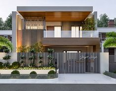 We are an enthusiasts who just love interesting, unique, creative and functional projects with architecture & interior design, visualization, branding and product design. Modern Exterior House Designs, Modern House Facades, Design Exterior, Facade Design, Modern House Design, Interior Design, 3 Storey House Design, Duplex House Design, House Front Design