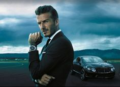 David Beckham Gets Official With Breitling for Bentley Tässä kaikki kohdallaan, mies, auto, kello :)