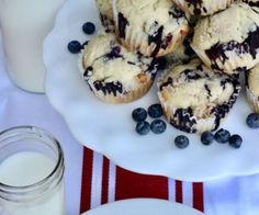 blueberry muffins with milk