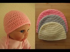 15cc76d7771 Easy Crochet baby hat premature newborn 0-3 months beanie Happy Crochet .
