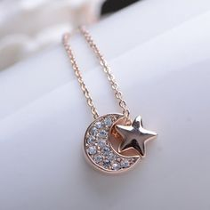 Cute Diamante Moon and Star Pendant Alloy Necklace For Women, AS THE PICTURE in Necklaces | DressLily.com