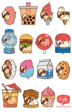 ALL UP IN YO FOODS! \o/ #pugs #food #illustration