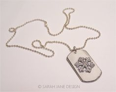 WINTER Dog Tag ski jewelry snowflake necklace by SarahJaneDesign, $15.00