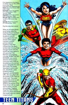 """why-i-love-comics: """"Teen Titans info page """"written by Scott Beatty art by Nick Cardy & Tom McCraw"""" """""""