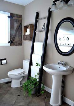baño blanco y negro espejo de madera - Buscar con Google