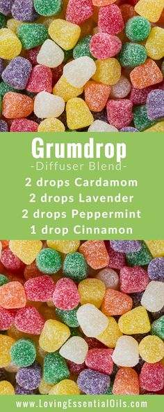 FREE GUIDE: 150 Essential Oil Diffuser Recipes You Will Love - Gumdrop Diffuser Blend with cardamom, lavender, peppermint, and cinnamon essential oils, happy diffusing! #diffuserguide #diffusingoils #diffuserblends