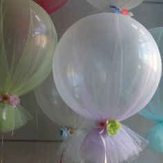 decoraciones de globos con tul