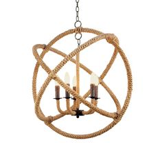 This striking Rope Orb Chandelier lighting piece would standout in so many styles of decor: Beach House to Urban Loft!