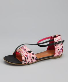 Take a look at this Pink & Black Jacqueline-6 Sandal by C Label on #zulily today!