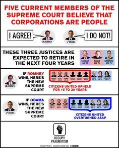 Check this out.  If you give even one little shit about what happens to this country and the value of your individual vote, pay attention!  Your rights are going down the drain - yeah, they're doin' the big fat swirly, and Romney will flush them for good if he gets in.  Corporations are NOT people - but if Citizens United stands, we won't need people anymore; we'll be a nation run by corporate dollars, which means we'll no longer have individual civil rights.
