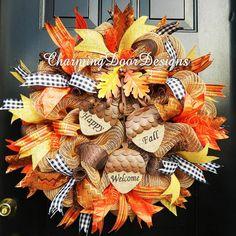 Happy Welcome Fall Acorn Burlap Mesh Wreath by CharmingDoorDesigns