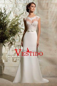 2016 vestidos de boda de la columna con apliques de gasa tren de la corte