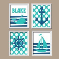 Boy Wall Art Nursery Canvas Artwork Child Nautical Navy Blue Turquoise Monogram Sailboat Sea Anchor Name Ocean Set of 4 Prints Baby Bathroom...