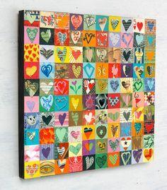 Maak samen een kunstwerk voor in de klas. Iedereen 3 a vier vierkantjes, samen een groot resultaat. Deze is met 100 hartjes. Andere vormen, zoals blaadjes of vissen zijn natuurlijk ook mogelijk...