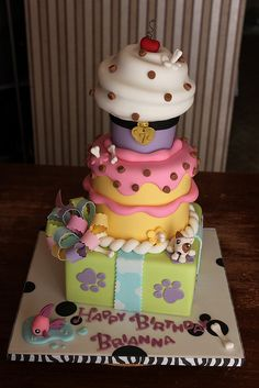Littlest Pet Shop inspired Stacked Party Cake by Andrea's SweetCakes, via Flickr