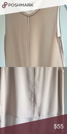 Vince overlay 100% Silk  Sleeveless Blouse, Small Almost new peach Vince silk overly Sleeveless top. Vince Tops Blouses