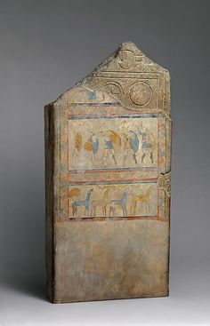 Mycenaean painted stele, Late Helladic periods :Gillieron has faithfully represented in plaster the limestone carving, which was stuccoed in antiquity and then painted on the front with at least three horizontal registers including a central scene with warriors, another scene with animals. On the sides are representations of altars with incurving sides.