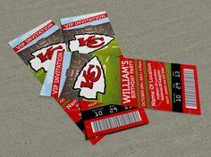 Super Bowl Party/Event Ticket Invitation x - Seahawks vs Broncos Football Invitations, Ticket Invitation, Birthday Invitations, Invites, Sports Birthday, 2nd Birthday Parties, Boy Birthday, Birthday Ideas, Kansas City Chiefs Tickets