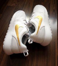 Nike Roshe White with Custom Gold Swoosh Paint da06c1b50