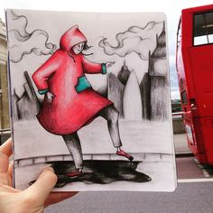 The of after the are so you can't see the ground anymore. London Rain, London Bus, Red Raincoat, Travel Drawing, Illustrators, Disney Characters, Fictional Characters, Painting, Instagram