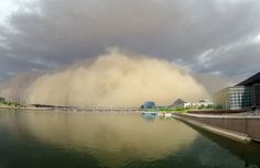 A dust storm moves toward Tempe Town Lake.  (Tempe AZ) July 21st 2012