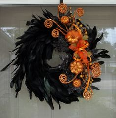 Fall Wreath,Halloween Wreath,Wreath,Holiday wreath,Wall decor,Decoration,Feather wreath. $55.00, via Etsy.