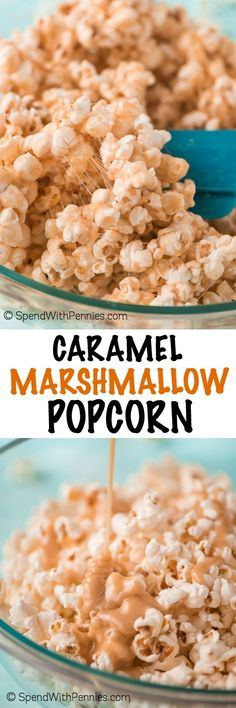 Have a movie night at home with the family and munch on this super tasty Caramel Marshmallow Popcorn that comes together in just 5 minutes, and maybe switch out the caramel. Yummy Snacks, Delicious Desserts, Snack Recipes, Cooking Recipes, Dessert Recipes, Yummy Food, Tasty, Cooking Videos, Cooking Tips