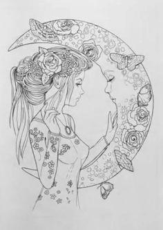 Super Tattoo Moon Mandala Coloring Pages Ideas – Coloring – mandala Fairy Coloring Pages, Printable Adult Coloring Pages, Mandala Coloring Pages, Moon Coloring Pages, Adult Colouring Pages, Coloring Pages To Print, Coloring Sheets, Coloring Books, Moon Mandala