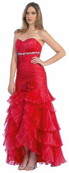 Strapless Long Tiered Pleated Skirt Prom Dress.