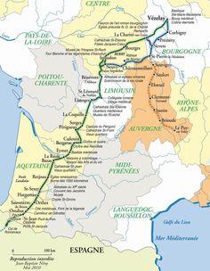 Via Lemovicensis : carte de Jean-Baptiste Neny Limousin, Camino Routes, St Etienne, Art Roman, Cycling Workout, Walkabout, French Countryside, Saint James, Loire