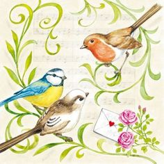 4 x Single Luxury Paper Napkins for Decoupage and Craft Vintage Singing Birds Paper Napkins For Decoupage, Decoupage Vintage, Decoupage Paper, Birds 2, Pet Birds, Bird Art, Blue Bird, Bird Houses, Art Projects
