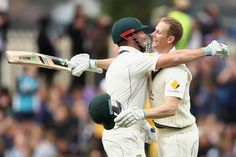 Slice of history ... Adam Voges (R) and Shaun Marsh congratulate each other during their record partnership