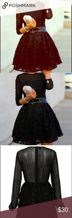 ITSS BACK !! Black Lace Skater Dress Black knee length skater dress  Dresses