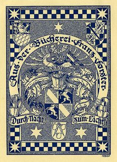 ex libris | bookplate of Franz Forster | Artist: Rheude, Lorenz M., 1863- 1939  Date: 1910  Description: States, 'Aus Der Bucherei Franz Forster,' with the motto, 'Durch Nacht Zum Licht;' features several coats of arms, wings, and armor. Signed in lower right, 'LR,' with '1910.'  Format: 1 print, col., 15 x 12 cm.  Source: Pratt Institute Libraries, Special Collections 370 (sc00113)   Pratt Libraries Website For inquiries regarding permissions and use fees, please contact: r...
