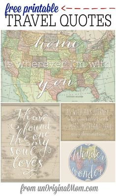 Vintage Travel Four different free printable travel quotes - perfect for a travel themed shower, or a gift for a travel lover! - Four different free printable travel quotes - perfect for a travel themed shower or as a gift for a travel lover! Map Crafts, Travel Crafts, Travel Bridal Showers, Wedding Showers, Baby Showers, Posters Vintage, Vintage Maps, Vintage Travel Themes, Vintage Travel Wedding