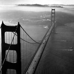 A 1951 helicopter view of the Golden Gate Bridge (Margaret Bourke-White